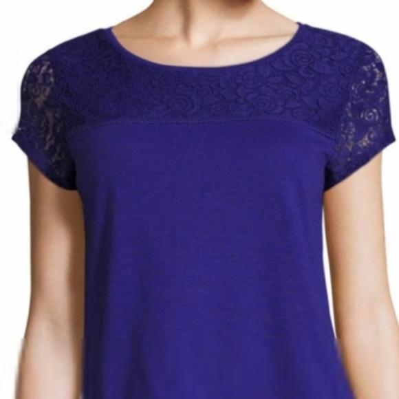 7d4998ae57f NWT Liz Claiborne Short Sleeve Lace T-shirt